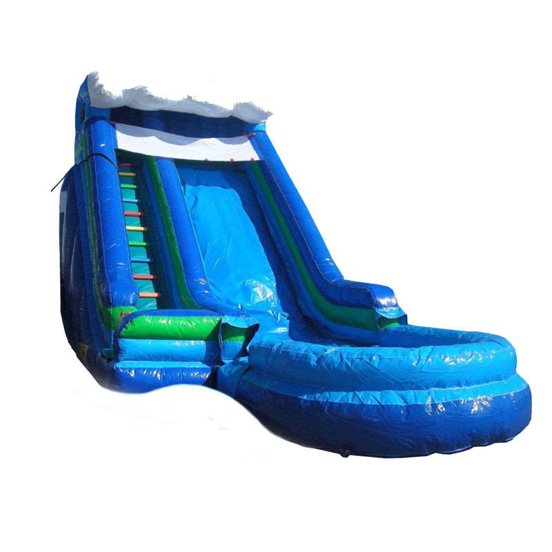 Inflatable Pool Slide Uk: 16' Inflatable Water Slide Park Slide For Kids With Pool